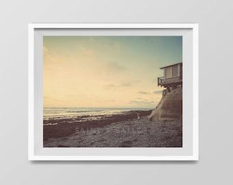 Del Mar Lifeguard Tower, Surf Decor,  beach photos, , yellow, turquoise, sunset, retro, vintage surf home decor, boys room