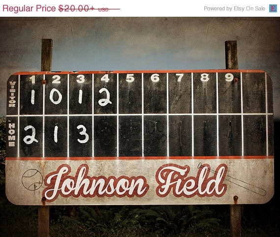 Flash Sale Vintage Baseball Scoreboard Photo Print By Shawnstpeter