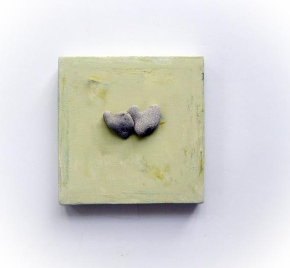 Unique engagement Gift - Wedding gift Idea - Unique gift for couple - Heart shaped rocks on canvas - pebble art - beach finds art - S37