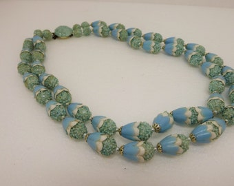Vintage Teal Sugar Bead plastic Cone Pearl Double Strand Necklace Japan signed