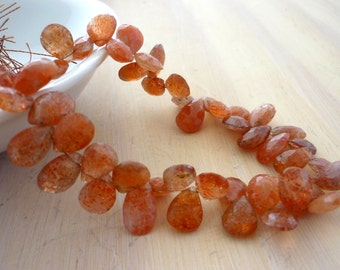Sunstone faceted pear briolette beads 9-10mm 1/2 strand