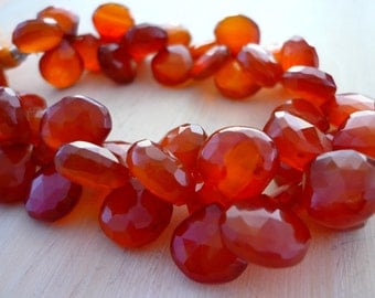 Rust chalcedony faceted briolette beads 10-11mm set of 6