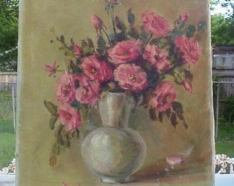 LISTED TEXAS ARTIST Maudella Megginson Early Floral Oil on Canvas Painting