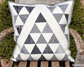 Black, White and Grey Triangle Quilted Pillow Cover Ready to Ship