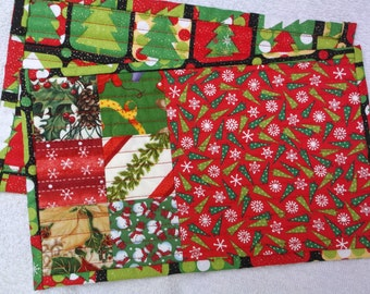 Christmas mug rugs set of two mug rugs quilted holiday mug rugs