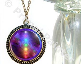 "Rainbow Chakra Necklace, Energy Art, Reiki Jewelry Large Art Pendant ""Chakra Healing"""