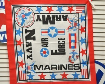 Vintage Military Bandana/Scarf/Marines Army Navy Air Force/Made in USA/Red White & Blue/Patriotic/Americana/Gift Accessory 90s/Service