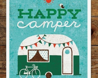 8x10 Happy Camper Art Print, Vintage, Retro