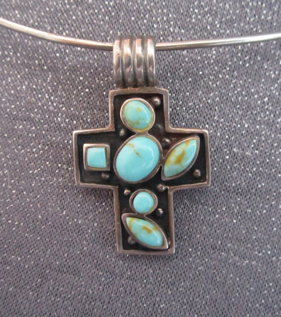 Turquoise Stones in Sterling Silver Cross Necklace, pendant necklace, signed 925, signed CFJ, turquoise cross