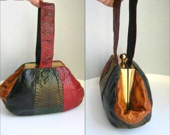 1940s 4-tone cobra snakeskin wristlet purse colorblock color block cobraskin snake skin 40s colorblocking
