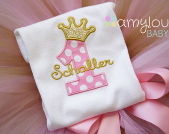 Pink and Gold Princess Birthday Baby and Toddler Bodysuit - Birthday Party - Girl - First or Second Birthday