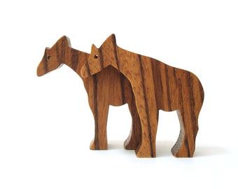 Wood Toy Animals Okapi Miniature Wooden Noah's Ark  Zoo Play Set Hand Cut Scroll Saw