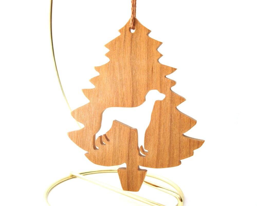 greyhound dog ornament wood dog breed christmas ornament