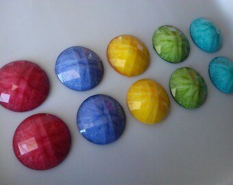25 mm Colorful Resin Lucite  Faceted Round Cabochon, Beads. Delicious  Pack of  Assorted 10 Pieces Or Your Choice Of  Color