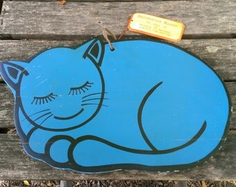 Vintage Wooden Cutting Board Kitschy Kitchen Kitten Cat 1960s 1950s Japan