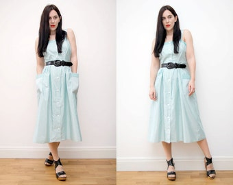 Vintage Stripe Sun Strap White Mint Rockabilly Dress 50's