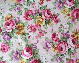 vintage rose-pink floral fabric cotton