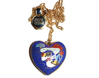Vintage Cloisonne Heart Necklace - Birds Rooster Chicken Duck Lake swamp necklace