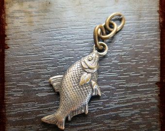 Antique French Miniature Fish Medal Pendant - Vintage Sea Jewelry charm from France