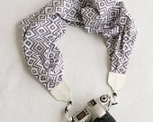 scarf camera strap - gray and white tribal