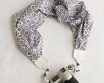 scarf camera strap gray tribal - BCSCS020