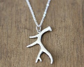 Long Sterling Silver Antler Necklace - modern simple everyday jewelry
