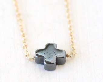 Dainty Hematite Cross Necklace // 14K Gold Filled // Sterling Silver// Rose Gold/  simple modern everyday layering necklace