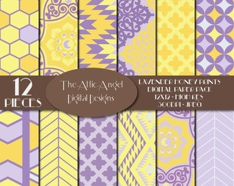 SALE - Vintage Digital Paper, Lavender and Yellow Paper, Tribal Pattern Paper, Commercial Use - CU, Instant Download