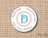 Round Return Address Labels with Initial and Lace Border - 96 self-sticking labels