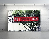 Unique Paris Metropolitain Sign, Metropolitain, Vintage Metro Sign, Vintage Paris Photography, Vintage Sign, Rouge, Red Paris Train Station