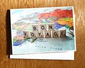 Unique Bon Voyage CARD, Card for Travellers, Travel Card, Bon Voyage, World Map Card, Vintage Bon Voyage, Scrabble Letters Card, Vacation