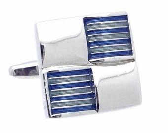 Blue Check Cufflinks