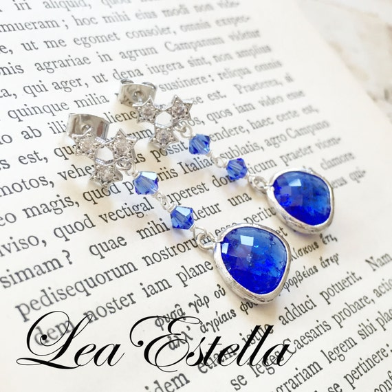 Swarovski Crystals Cobalt Blue Cracked Glass Briolette Cubic Zirconia Sterling Silver Post/Stud Earrings - Star Light Star Bright