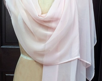 Pale Pink Chiffon  Shawl Wrap Scarf with Rhinestones