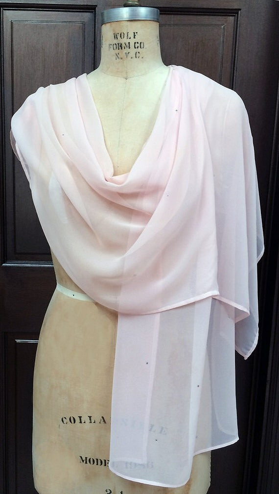 Pale Pink Chiffon  Shawl Wrap Scarf with Rhinestones