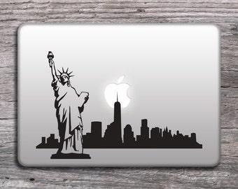 New York skyline vinyl sticker, MacBook decals stickers, design decals for laptop, cars, Statue of Liberty Decal