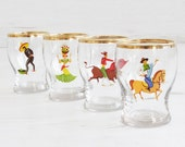 Vintage shot glasses - Spanish Dancing Horse Gold Glass Collectible Decor Barware Drinking Serving