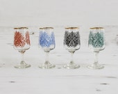 Vintage drinking shot glasses -  bohemian henna  Gold Glass Collectible Decor Barware Drinking Serving