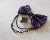 purple zebra stripe hair bow or brooch with dark skull and chain