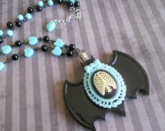Pastel Goth rib cage bat necklace mint hearts