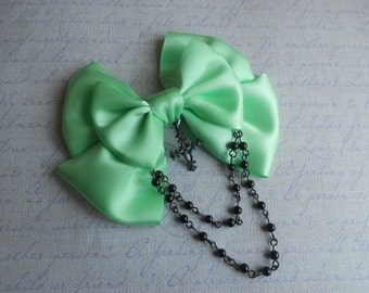 Hair clip or Brooch Mint bow with black cross and black beads pastel goth