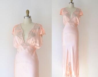1940s Peach Nightgown / 30s 40s Bias Cut Gown
