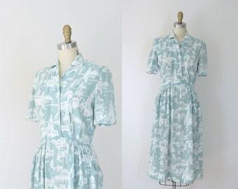 1930s Novelty Print Dress / 30s Day Dress
