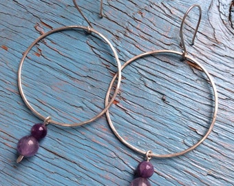 Amethyst and sterling silver and hoops