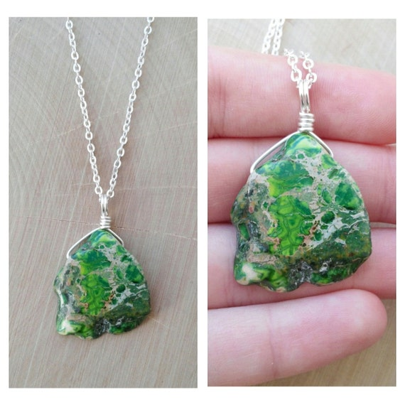 Green Imperial Jasper Necklace By Drunkenmermaid On Etsy