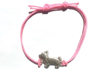 Yorkie Bracelet with Textile Cord - Mini Friendship - Sterling Silver