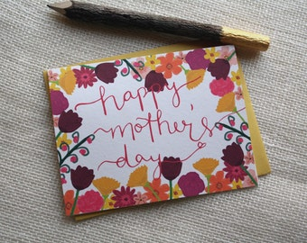 Hand Illustrated Floral Happy Mother's Day Calligraphy Handmade Blank Greeting Card
