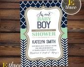 Printable Baby Boy Shower Invitation - Mint, Navy, Beige Preppy Boy's Shower - Chevron Shower Invitation #1040