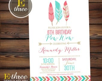 Printable Girl's Birthday Invitation - Indian, Tribal Girl's Party Invitation - Pink, Aqua, Turquoise, Gold - Arrow and Feathers