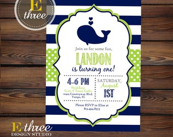 Whale Birthday Party Invitation - Boy's Whale 1st Birthday Invitations - Preppy Nautical - Navy Blue, Lime Green, Gray Invite